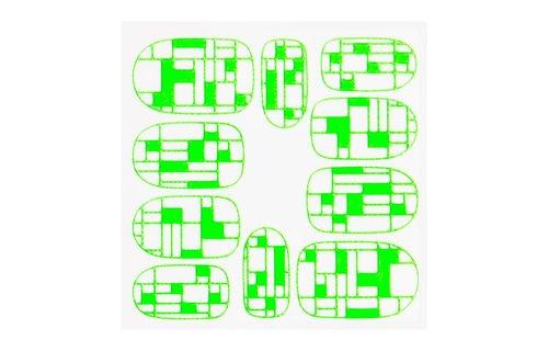 No Label Metallic Filigree Sticker KOR-009 Neon Green