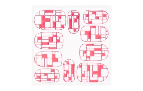 No Label Metallic Filigree Sticker KOR-009 Neon Pink