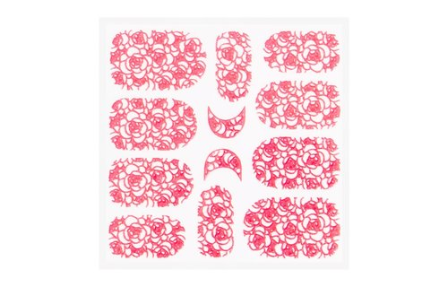 No Label Metallic Filigree Sticker KOR-011 Neon Pink
