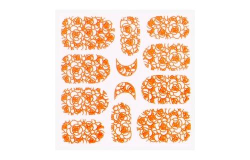 No Label Metallic Filigree Sticker KOR-011 Neon Orange