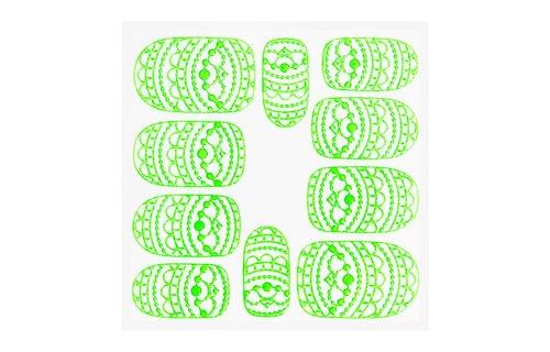 No Label Metallic Filigree Sticker KOR-013 Neon Green