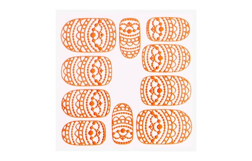 No Label Metallic Filigree Sticker KOR-013 Neon Orange