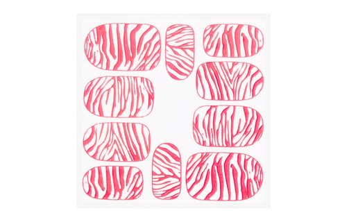 No Label Metallic Filigree Sticker KOR-014 Neon Pink