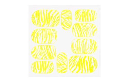 No Label Metallic Filigree Sticker KOR-014 Neon Yellow