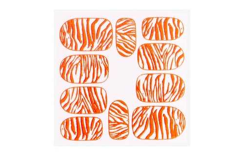 No Label Metallic Filigree Sticker KOR-014 Neon Orange