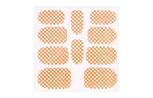 No Label Metallic Filigree Sticker KOR-015 Neon Orange