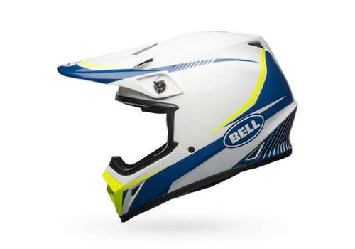 Bell Helmet MX-9 Gloss White/Blue/Yellow Torch crosshelm
