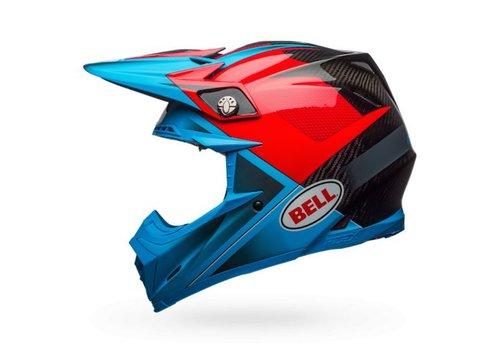Bell Helmet Moto-9 Flex Hound Gloss/Matte Cyan/Red crosshelm