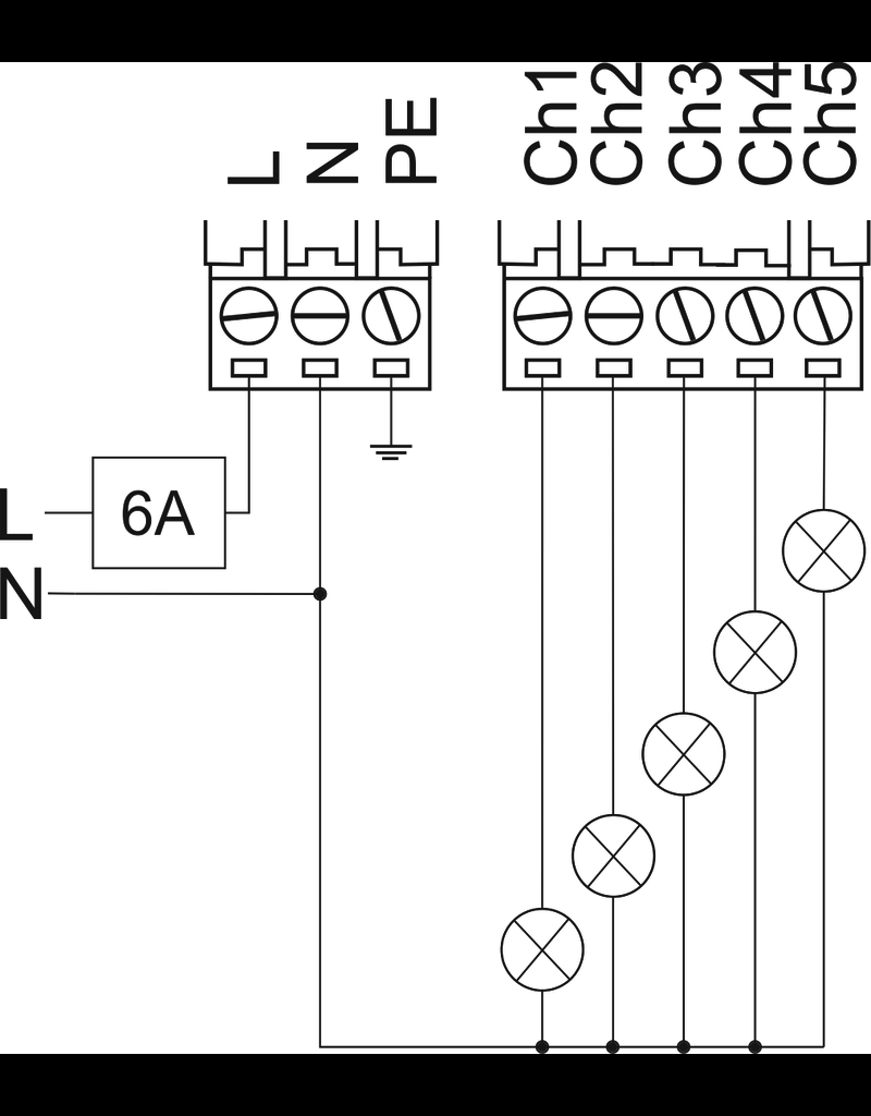 Larnitech DW-DM05 - 5-kanaals DIN-rail dim-actor