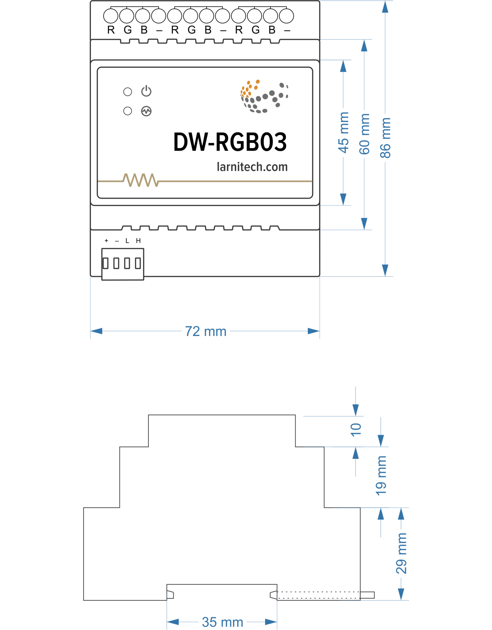 Larnitech DW-RGB03 - 3-kanaals RGB-module (of 9 monochroom kanalen)