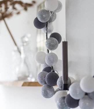 COTTON BALL LIGHTS Light String - Silver Mix