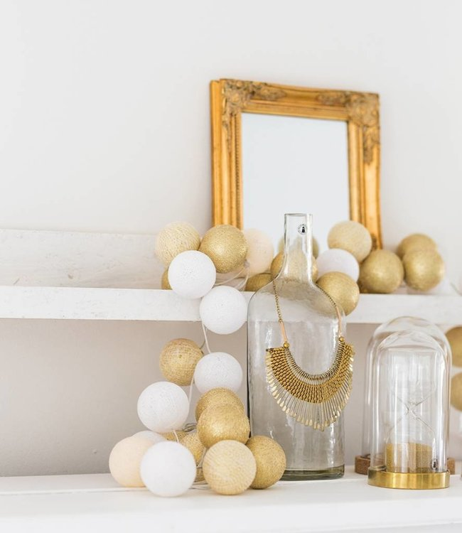 COTTON BALL LIGHTS Sparkling Lichterkette - Touch of Gold