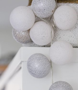 COTTON BALL LIGHTS Light String - White/Silver