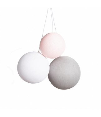 COTTON BALL LIGHTS Triple Hanging Lamp - Blushy Greys (one point)