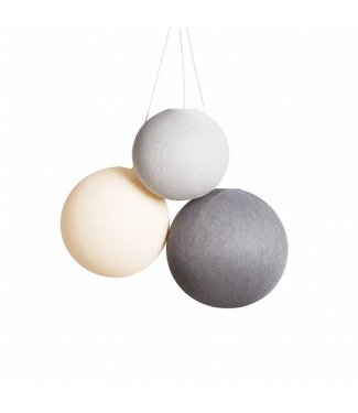 COTTON BALL LIGHTS Triple Hanging Lamp - Glowy Greys (one point)