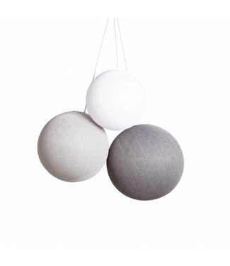 COTTON BALL LIGHTS Triple Hanging Lamp - Shades of Grey (one point)