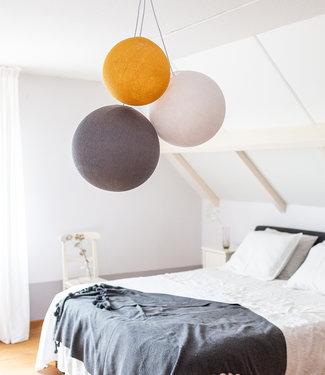 COTTON BALL LIGHTS Triple Hanging Lamp - Mustard Glows