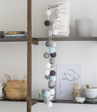 COTTON BALL LIGHTS Light String - Aqua Grey