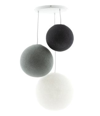 COTTON BALL LIGHTS Triple Hanging Lamp - Shades of Grey (3-Deluxe)