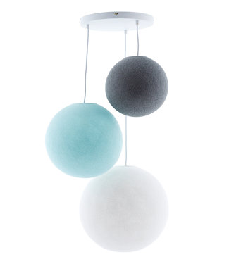 COTTON BALL LIGHTS Triple Hanging Lamp - Sea Breeze (3-Deluxe)