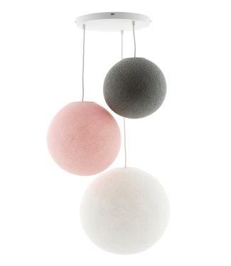 COTTON BALL LIGHTS Triple Hanging Lamp - Blushy Greys (3-Deluxe)
