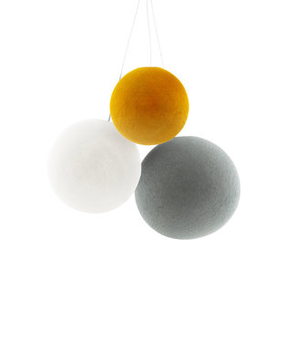 COTTON BALL LIGHTS Triple Hanging Lamp - Mustard Glows (one point)