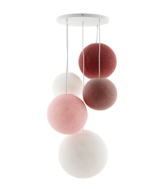 COTTON BALL LIGHTS Fivefold Hanging Lamp - Dirty Rose