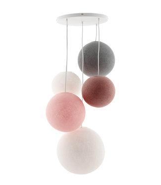 COTTON BALL LIGHTS Fivefold Hanging Lamp - Blushy Greys