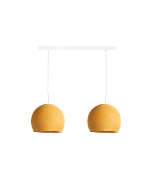 COTTON BALL LIGHTS Double Hanging Lamp Ceiling - Three Quarter Mustard