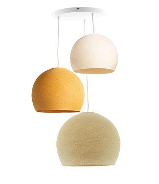 COTTON BALL LIGHTS Triple Hanging Lamp 3 point - Three Quarter Creamy Mustard