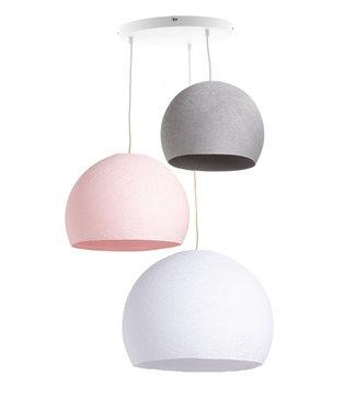 COTTON BALL LIGHTS Triple Hanging Lamp 3 point - Three Quarter Blushy Grey
