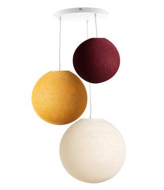 COTTON BALL LIGHTS Dreifach Hängelampe 3 Punkt - Honey Red