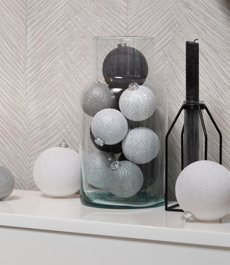 COTTON BALL LIGHTS Weihnachts Cotton Balls -  Silver Mix Premium