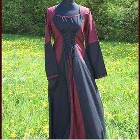 Kleid Morrighan (Burgunderrot-Schwarz)