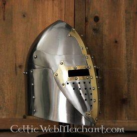 Deepeeka Sugarloaf Helm mit Klappvisier, 1,6 mm Stahl, poliert