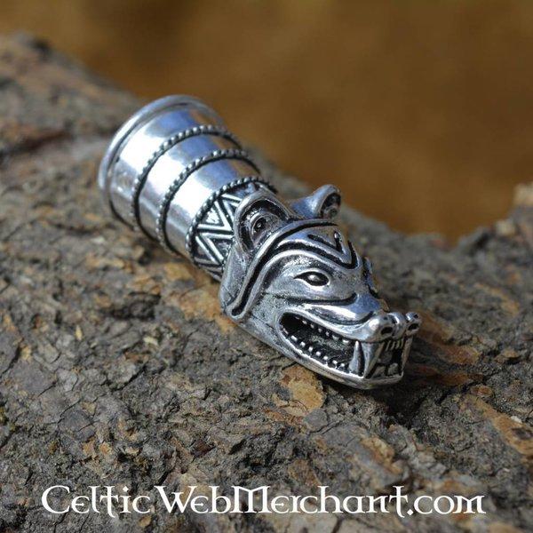 Trinkhorn Dekoration mit Wolfskopf, Silber