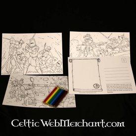 Set Farbeing Postkarten Ritter