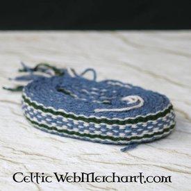 Wollband, Blau - Grün - beige