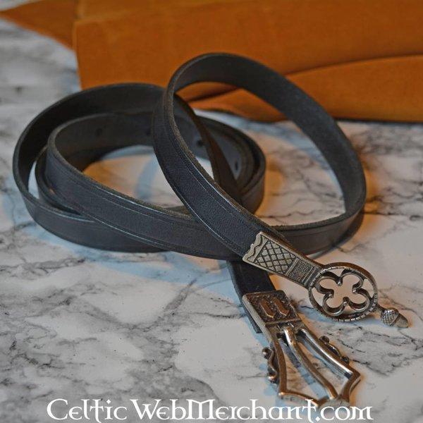 Gotischer Gürtel mit Gürtelendbeschlag, schwarz