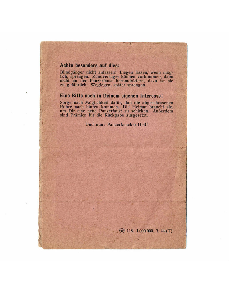 Panzerfaust Instruction Leaflet