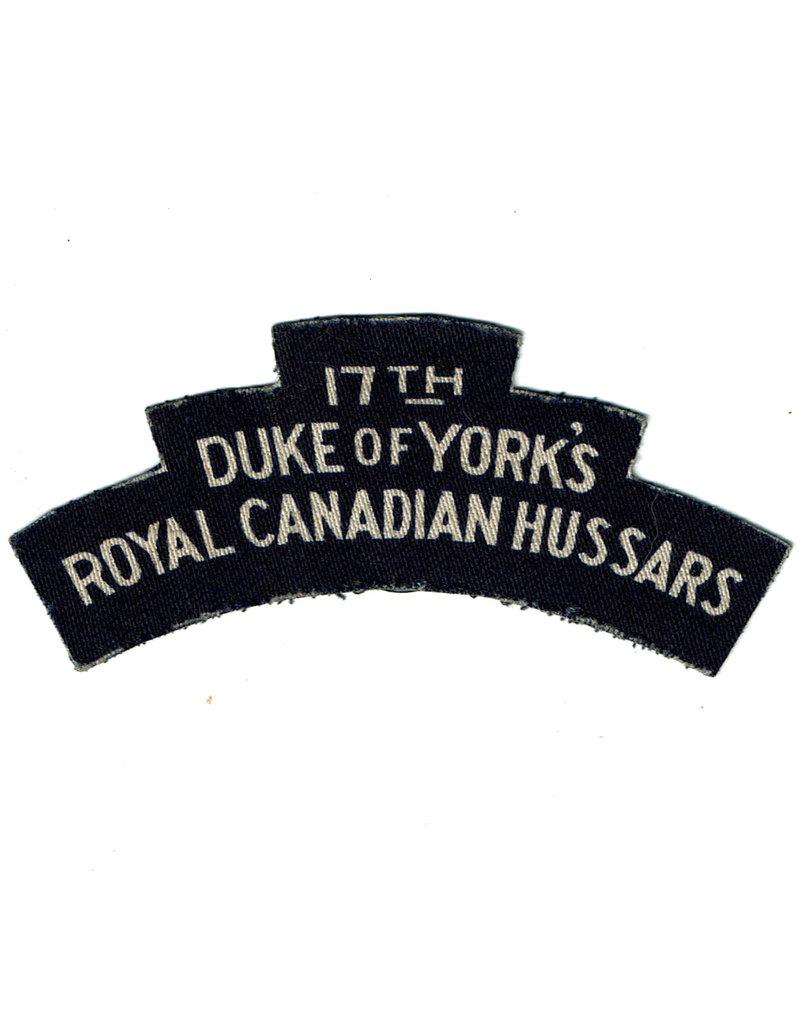 17th Duke of York's, Royal Canadian  Hussars - Gedrukt Embleem