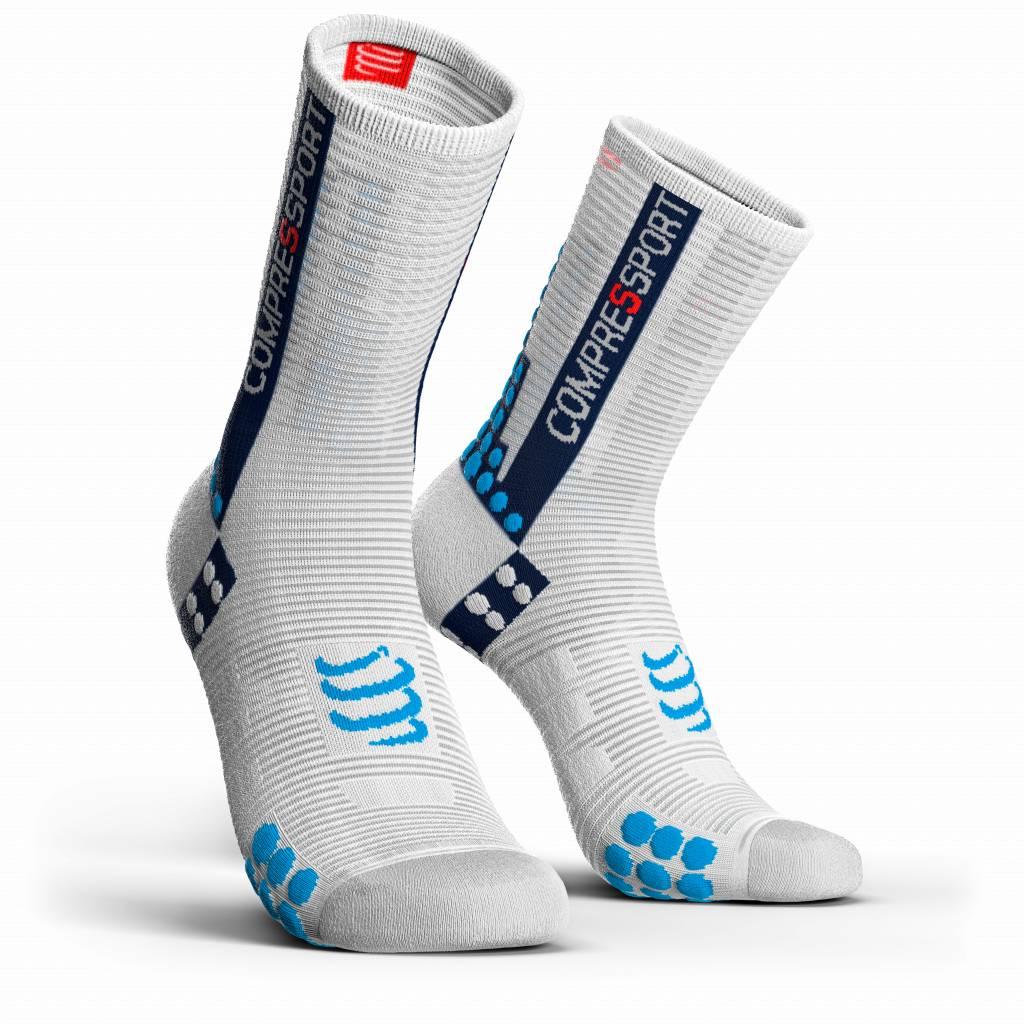 Compressport Pro Racing Socks v3.0 Bike - WHITE/BLUE - T2