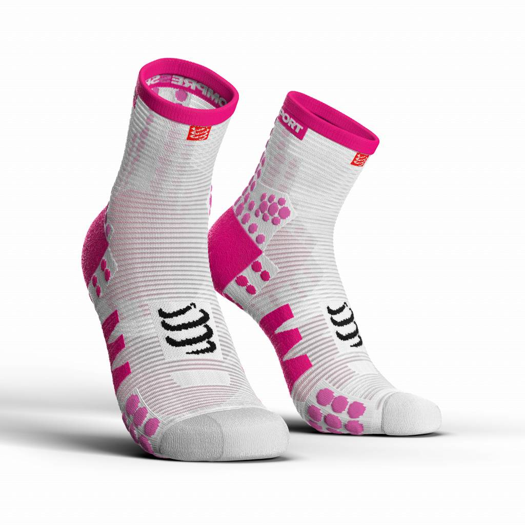 Compressport Pro Racing Socks v3.0 Run High - WHITE/PINK - T1