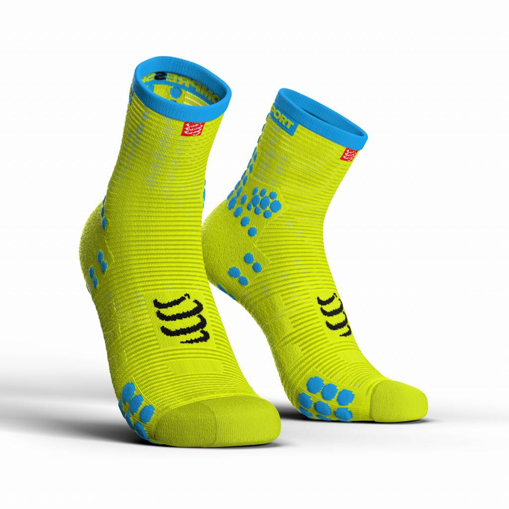 Compressport Pro Racing Socks v3.0 Run High - FLUO YELLOW - T2