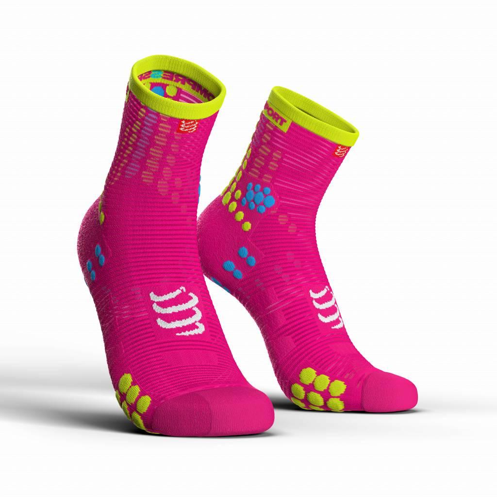 Compressport Pro Racing Socks v3.0 Run High - FLUO PINK - T1