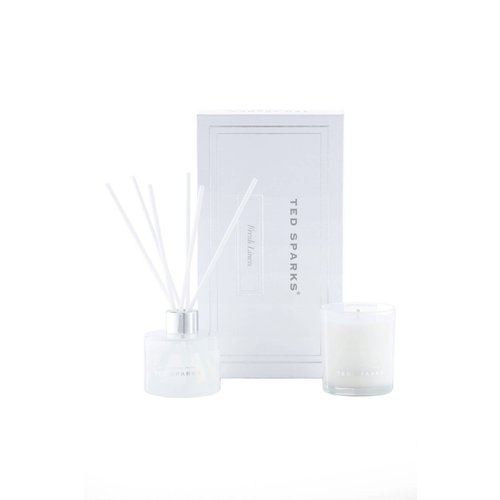 Ted Sparks Fresh Linen Candle & Diffuser Gift Set