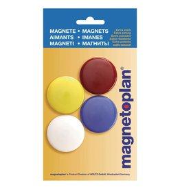 magnetoplan Rundmagnete 40 mm, Inhalt 4 Stück unterschiedlich farbig
