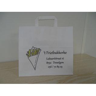 claerpack PHV Sacs cabas alimentaire blanc à poignées plates 26 x 17 x 25  cm 250 sacs