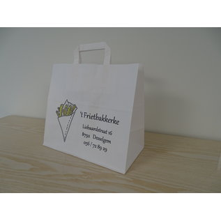 claerpack PHV Witte snackzakken met een plat handvat 26 x 17 x 25 cm  250 zakken