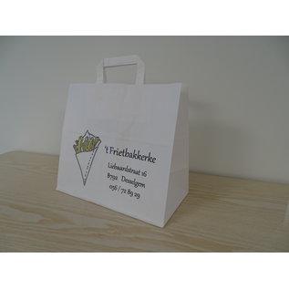 claerpack PHV Sacs cabas alimentaire blanc à poignées plates 32 x 21  x 27  cm 250 sacs